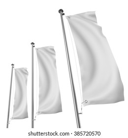 blank three vertical realistic flags mock-up