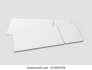Blank ticket for mock up design or design presentation. 3d render illustration.