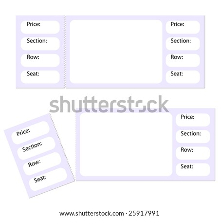 blank tickets torn stub isolated on stock illustration 25917991