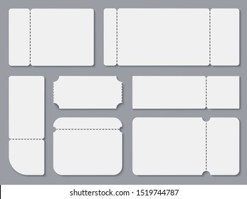 Blank tickets. White theater and cinema ticket mockup. Lottery coupon and receipt isolated template