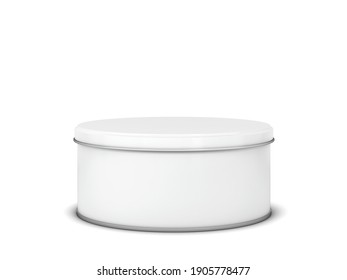 Blank tin can metal container for food or cosmetic. 3d illustration isolated on white background