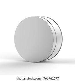 Blank Tin Can On Isolated White Background, 3D Illustartion