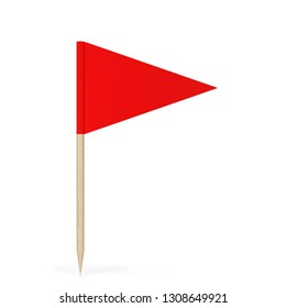 Blank toothpick flag. 3d illustration isolated on white background