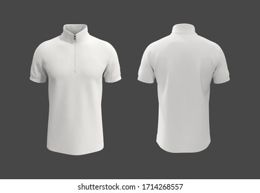 blank track shirt mockup template, front and back view, isolated on grey, polo shirt design presentation for print, 3d rendering, 3d illustration