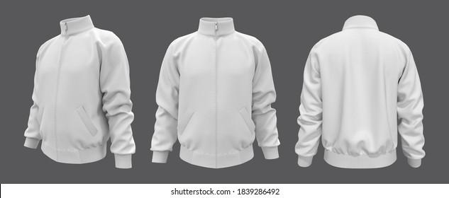 Blank tracksuit top, jacket design, sportswear, track front, side and back views, 3d illustration, 3d rendering