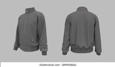Blank tracktop jacket mockup, 3d illustration, 3d rendering