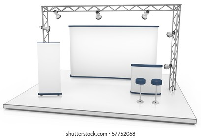 Blank trade exhibition stand with screen, counter, seats, roll-up banner and lights