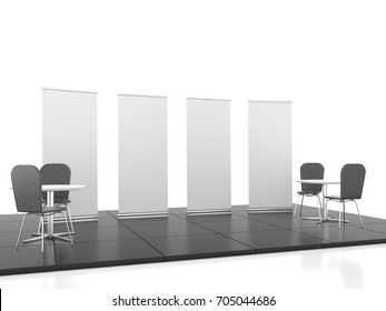 Blank trade show booth mock up rollup. 3D render