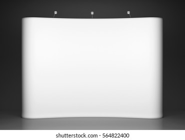 Blank trade show booth on grey background. 3D rendering