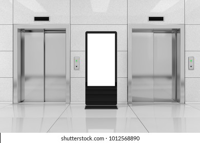 Blank Trade Show LCD Screen Stand as Template for Your Design near Modern Elevator or Lift with Metal Doors in Office Building extreme closeup. 3d Rendering
