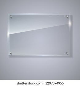 Blank, transparent glass banner. Horizontal template with copy-space. Photo realistic object with highlights and glow, 3D illustration.