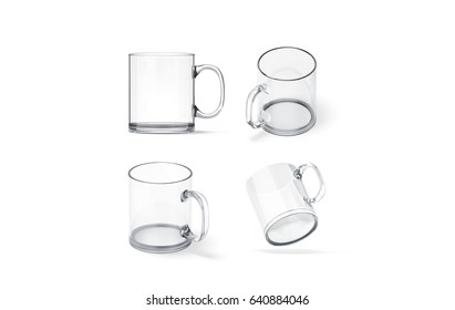 Blank transparent glass mug mock up set isolated, 3d rendering. Clear translucent coffee cup mockup for sublimation printing. Empty gift crystal branding template. Glassy restaurant tankard design