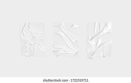 Blank transparent plastic foil wrap overlay mockup, gray background, 3d rendering. Empty crushed transparent cellophane mock up. Clear disposable packing for flowers mokcup template.
