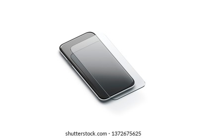 Blank transparent protection glass on phone screen mockup, isolated, 3d rendering. Empty protector for smartphone display mock up, side view. Clear shatterproof accessory template.