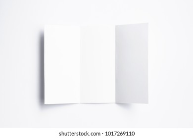 Blank Tri fold brochure isolated on white. 3d illustration for your design presentation.