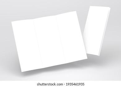 Blank tri fold brochure template for layout mock up and presentation design. 3d render