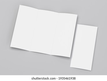 Blank tri fold brochure template for layout mock up and presentation design. 3d render