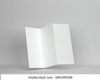Blank trifold brochure mockup. 3d illustration on gray background