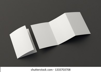 Blank trifold of three of A5/A4 pages brochure booklet on black background with clipping path around brochure. Folded and unfolded. 3D illustration