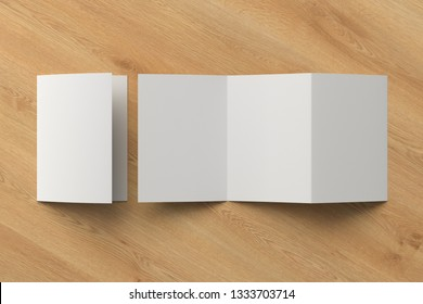 Blank trifold of three of A5/A4 pages brochure booklet on wooden background with clipping path around brochure. Folded and unfolded. 3D illustration