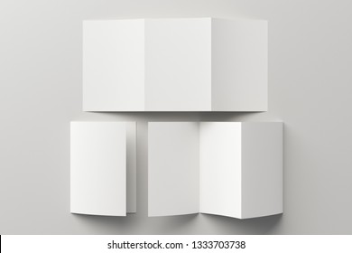 Blank trifold of three of A5/A4 pages brochure booklet on white background with clipping path around brochure. Folded and unfolded. 3D illustration
