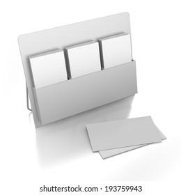 blank triple holder for dl size leaflets on white background.