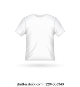 Blank t-shirt template clothing fashion. White shirt design with sleeve cotton uniform.