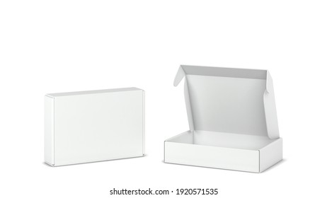 Blank tuck in flap packaging box mockup. 3d illustration isolated on white background