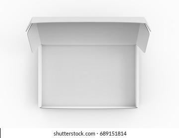 Blank tuck top box mockup, white open box template in 3d rendering, top view