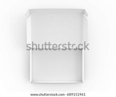 Blank Tuck Top Box Mockup White Open Template In 3d Rendering View