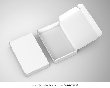 Blank tuck top box template, paper boxes mockup isolated on light gray background, one open and one closed, elevated view