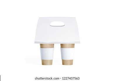 Blank Two Craft Coffee Cups White With Carrier Holder Mockup 3d Rendering Empty Paper
