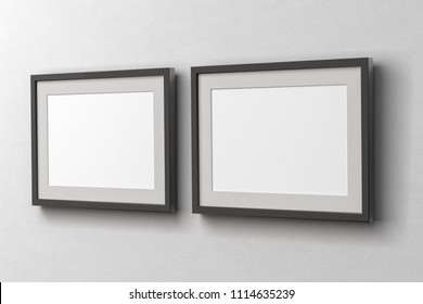Blank two horizontal posters on the white wall with dark frame and clipping path around poster. 3d illustration