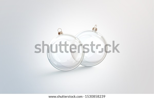 Blank two transparent christmas ball for tree mock up, 3d rendering. Empty glass round decor for spruce mockup. Clear acrylic globe for new year party mokcup template.