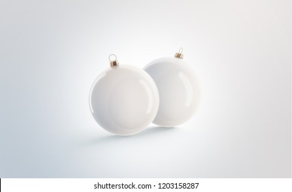 Blank two white christmas ball for tree mockup set, isolated, 3d rendering. Empty new year toy mock up. Clear xmas decoration sphere for pine. Traditional cristmas adornment template.