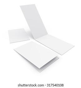 blank two-leaf greeting cards isolated on white