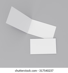 blank two-leaf greeting cards isolated on gray
