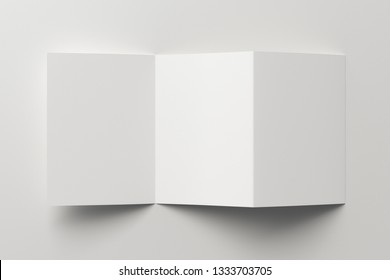 Blank unfolded trifold of three of A5/A4 pages brochure booklet on white background with clipping path around brochure. 3D illustration