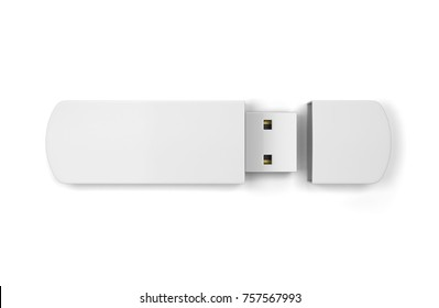 Blank usb flash drive. 3d illustration isolated on white background