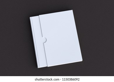 Blank verical book in box on black leather. Include clipping path around book and box. 3d render