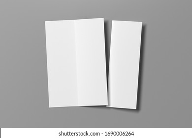 Blank vertical A4 leaflet on gray background. Bi-fold or half-fold opened and folded brochure isolated with clipping path. View directly above. 3d illustration