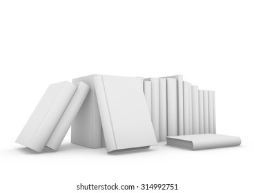Blank vertical book cover template with pages standing on white surface