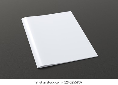 Blank vertical booklet cover on black background with clipping path around booklet. 3d illustration