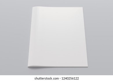 Blank vertical booklet cover on white background with clipping path around booklet. 3d illustration
