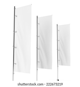 Blank vertical flag on a pole for customizing. template