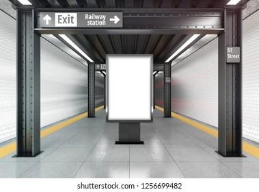 Blank vertical poster billboard on the metro station. 3D rendering.
