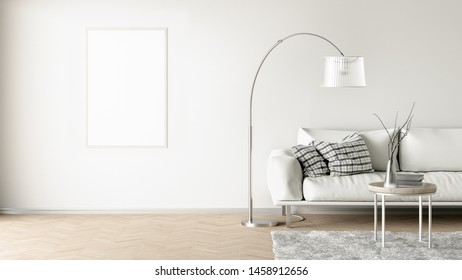 Blank vertical poster on white wall in interior of living room with white leather couch, carpet, floor lamp and coffee table on hardwood flooring. 3d illustration