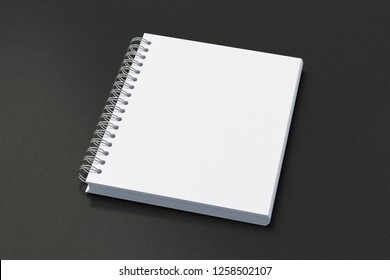 Blank vertical spiral notepad on black background. With clipping path around notebook pages. 3d illustration