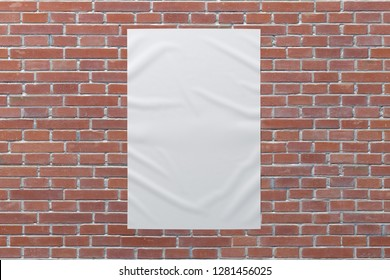 Blank vertical wrinkled street poster on brick wall. With clipping path around poster. 3d illustration