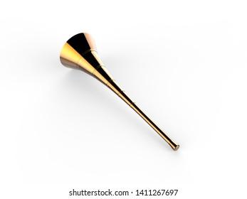 Blank Vuvuzela Stadium Plastic Horn, Fan vuvuzela trumpet isolated on white background, 3d illustration.